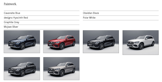 Colour Options for Mercedes GLC