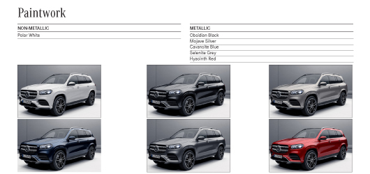 Colour Options for Mercedes GLS