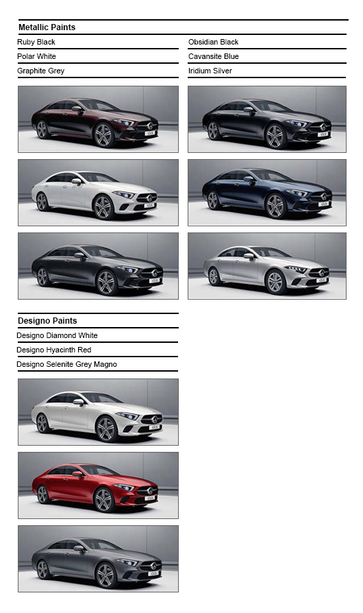 Colour Options for Mercedes CLS