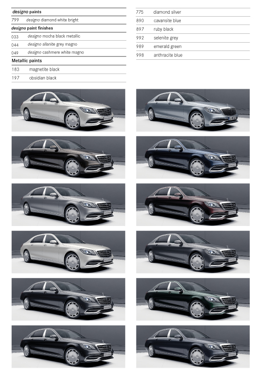 Colour Options for Mercedes S Maybach